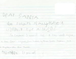 Ben's letter to Santa 2012