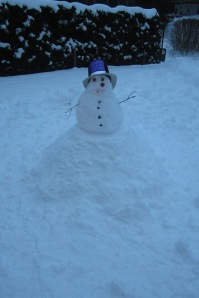 Evil snowman celebrating